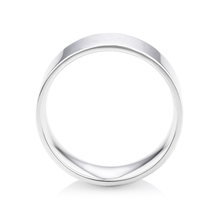 Flat Wedding Band in 10ct White Gold