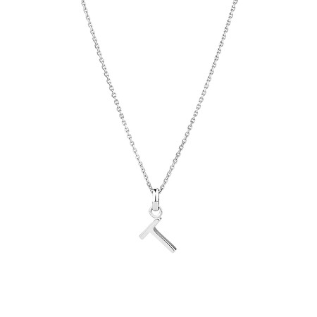 """""""T"""" Initial Pendant in Sterling Silver"""