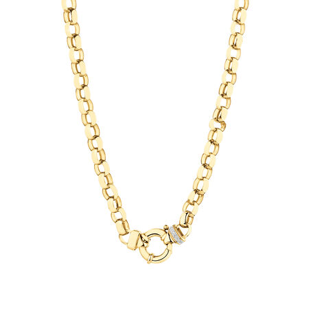 Diamond Set Oval Belcher Chain in 10ct Yellow Gold