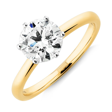 Michael Hill Solitaire Engagement Ring with a 1.50 Carat TW Diamond with the De Beers Code of Origin in 18kt Yellow & White Gold