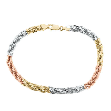 Rope Bracelet in 14ct Yellow, White & Rose Gold