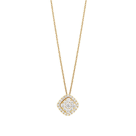 Cluster Pendant with 1 Carat TW of Diamonds in 10ct Yellow Gold