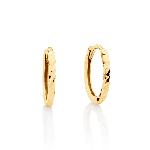 Mini Hoop Diamond Cut Earrings in 10ct Yellow Gold