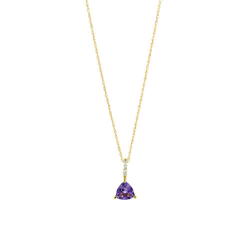 Amethyst Drop Pendant with 0.03 Diamonds in 10ct Yellow Gold