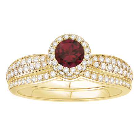 Bridal Set with Ruby & 0.52 Carat TW of Diamonds in 14ct Yellow Gold