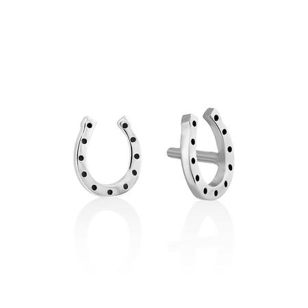 Mini Horseshoe Stud Earrings in Sterling Silver