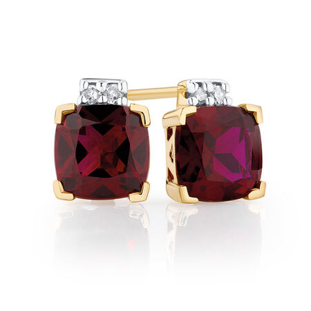 Stud Earrings with Created Ruby & Diamonds in 10ct Yellow Gold