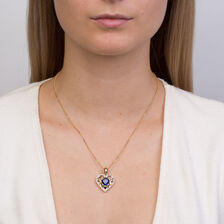 Heart Enhancer with Created Sapphire & Diamonds in 10ct Yellow Gold