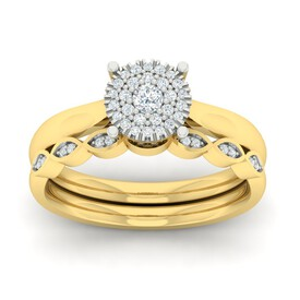 Bridal Set with 0.25 Carat TW of Diamonds in 10ct Yellow & White Gold