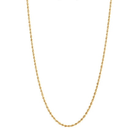 """45cm (18"""") Glitter Rope Chain in 10ct Yellow Gold"""