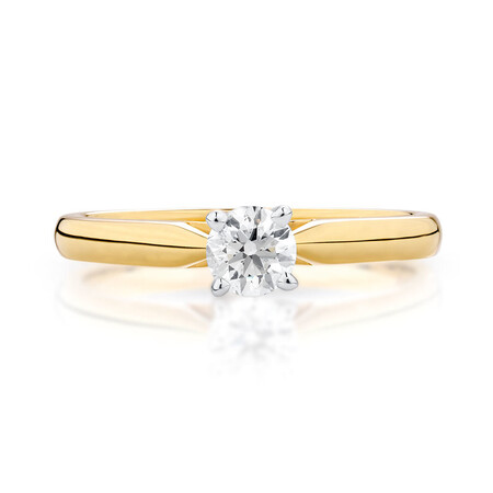 Solitaire Engagement Ring with 1/3 Carat Diamond in 14ct Yellow & White Gold