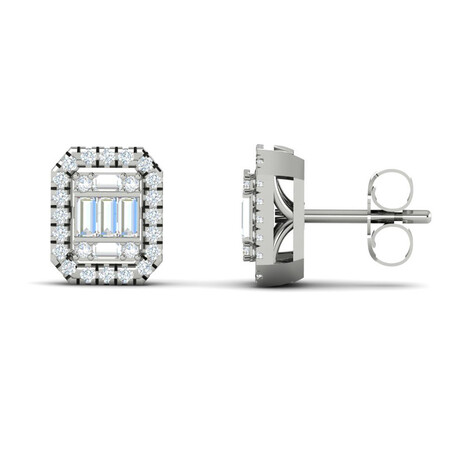 Cluster Stud Earrings with 0.20 Carat TW of Diamonds in 10ct White Gold