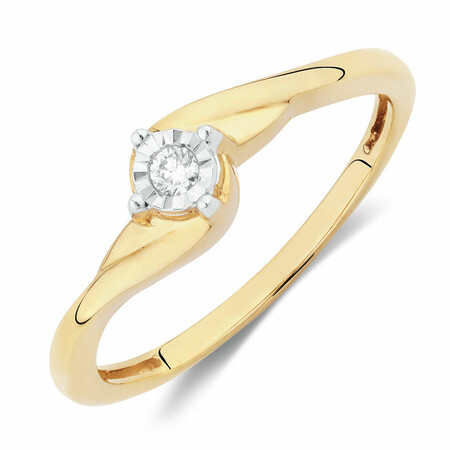 Solitaire Promise Ring with a Diamond in 10ct Yellow Gold