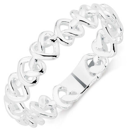 Sterling Silver Locked Heart Stack Ring