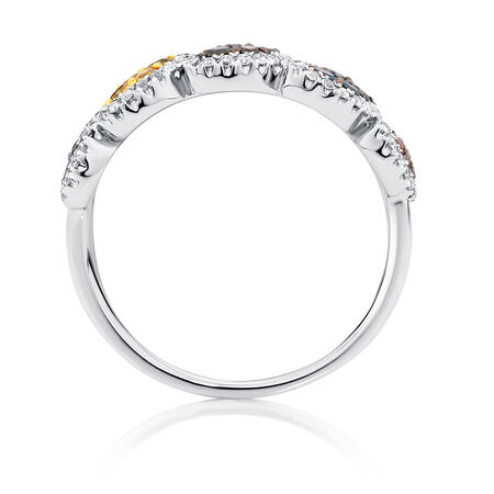 Online Exclusive - Ring with 0.54 Carat TW of Enhanced Multi-Coloured Diamonds in 10ct White Gold
