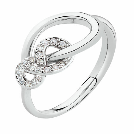 Knots Ring with Diamonds in Sterling Silver