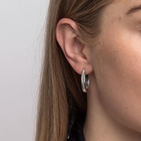 22mm Oval Glitter Hoop Earrings In 10ct White Gold