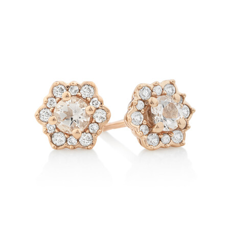 Halo Stud Earrings with Morganite & 0.25 Carat TW of Diamonds in 10ct Rose Gold.