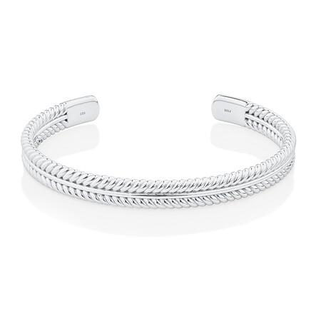 Textured Pattern Cuff Bracelet in Sterling Silver