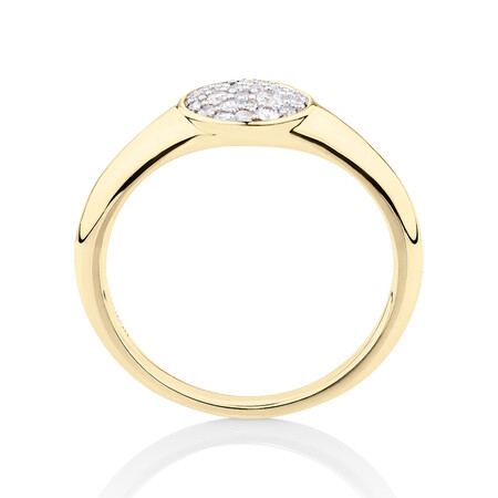 Pave Circle Ring with 0.19 Carat TW of Diamonds in 10ct Yellow Gold