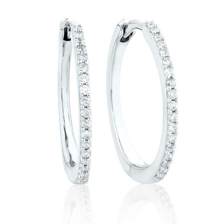 Small Huggie Earrings With 0.18 Carat TW of Diamonds in 10ct White Gold