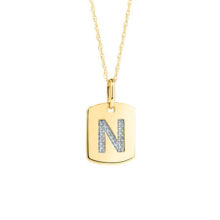 """N"" Initial Rectangular Pendant With Diamonds In 10ct Yellow Gold"