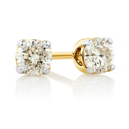 Stud Earrings with 0.50 Carat TW of Diamonds in 10ct Yellow Gold