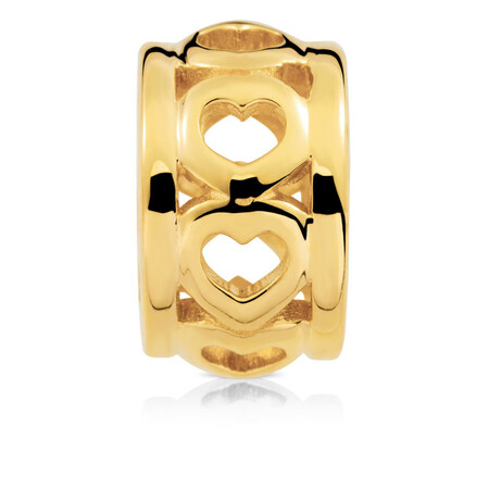 Cut Out Heart Charm in 10ct Yellow Gold