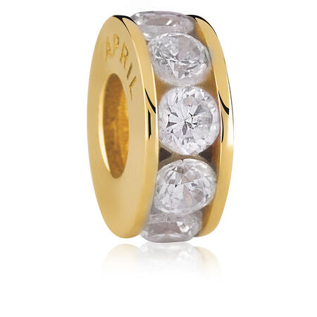 10ct Yellow Gold Cubic Zirconia April Charm
