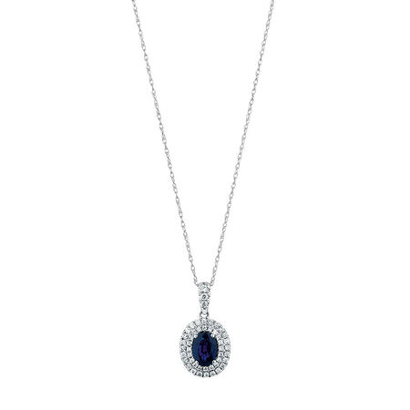 Michael Hill Designer Pendant with Sapphire & 0.40 Carat TW of Diamonds in 14ct White & Rose Gold
