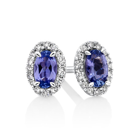 Halo Stud Earrings with Tanzanite & 0.12 TW Carat Of Diamonds in 10ct White Gold