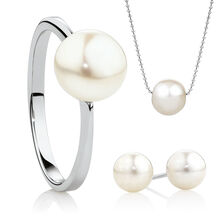 Earrings, Ring and Necklace Boxed Set with Cultured Freshwater Pearl in Sterling Silver