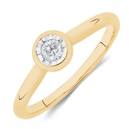 Solitaire Promise Ring with a Diamond in 10ct White & Yellow Gold