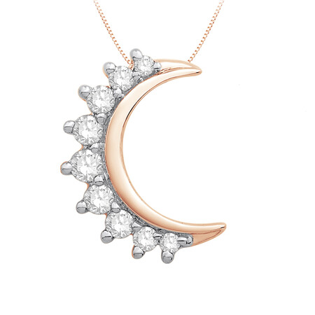 Moon Pendant with 0.10 Carat TW of Diamonds in 10ct Rose Gold