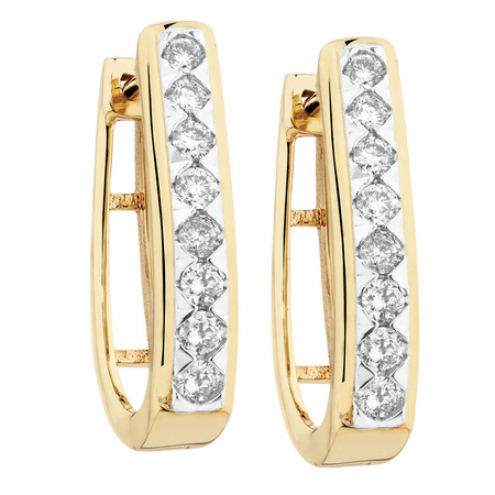 Huggie Earrings with 1/3 Carat TW of Diamonds in 10ct Yellow Gold