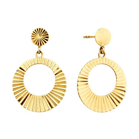 Circle Drop Earrings in 10ct Yellow Gold