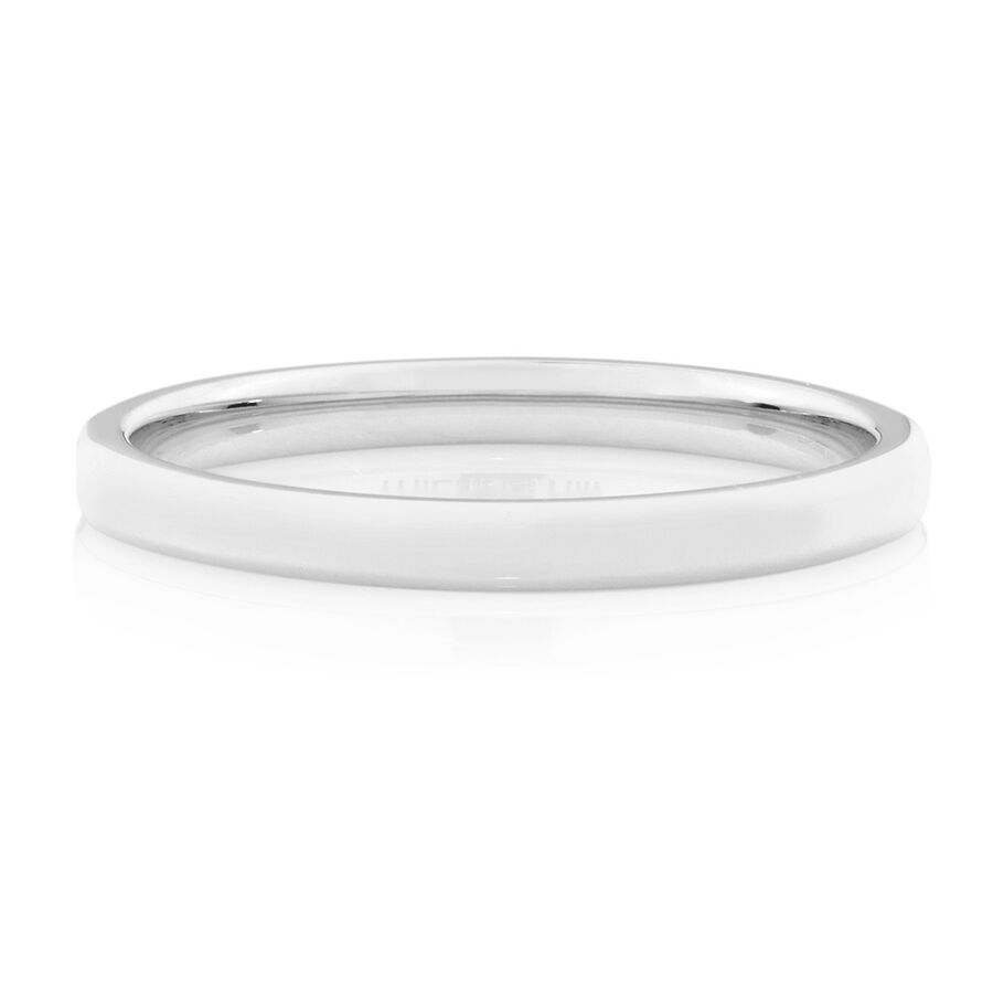 2mm Flat Bevelled Wedding Band in 10ct White Gold