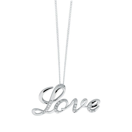 Love Pendant with Diamonds in Sterling Silver