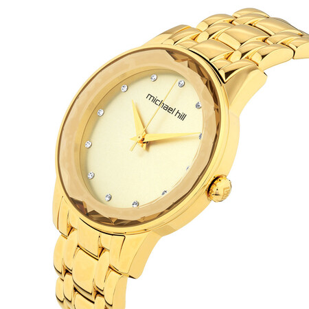Ladies Stone Set Watch in Gold Tone Stainless Steel