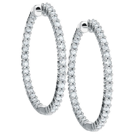 Hoop Earrings with 2 Carat TW of Diamonds in 18ct White Gold