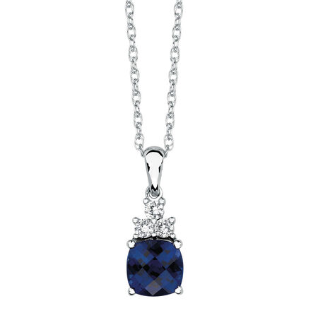 Pendant with Created Blue & Created White Sapphires in Sterling Silver