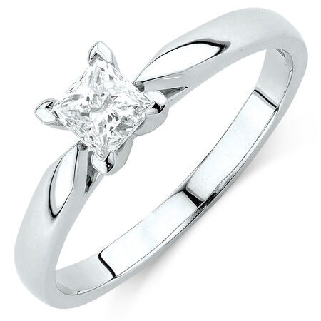 Evermore Solitaire Engagement Ring with 1/2 Carat Diamond in 14ct White Gold
