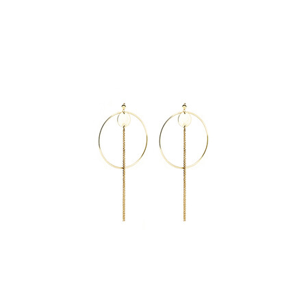 Open Circle Tassle Earrings in 10ct Yellow Gold