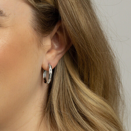 Glitter Hoop Earrings in 10ct White Gold