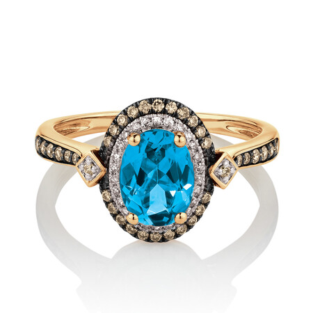 Ring with 0.30 Carat TW of White & Brown Diamonds & Topaz in 10ct Yellow Gold