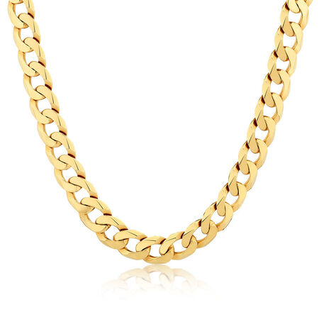 "55cm (22"") Men's Solid Curb Chain in 10ct Yellow Gold"