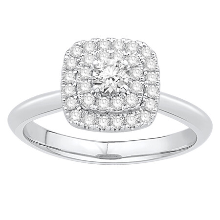 Ring with 1/2 Carat TW of Diamonds in 14ct White Gold