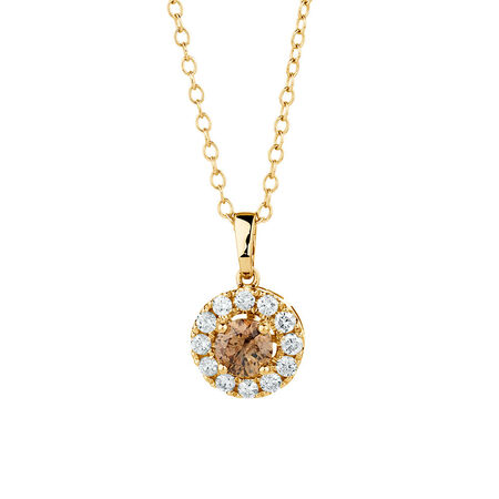 Natural Champagne Pendant with a 1/2 Carat TW of Champagne & White Diamonds in 10ct Yellow Gold