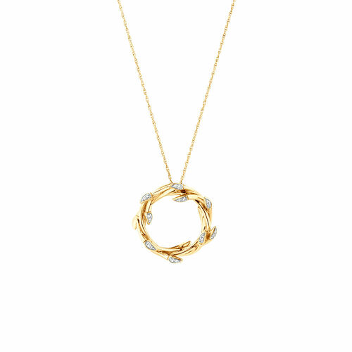 Small Willow Pendant with Diamonds in 10ct Yellow Gold