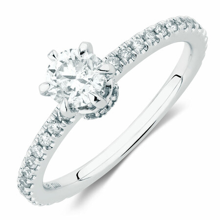 Sir Michael Hill Designer Engagement Ring With 0.70 Carat TW Of Diamonds In 14ct White & Rose Gold